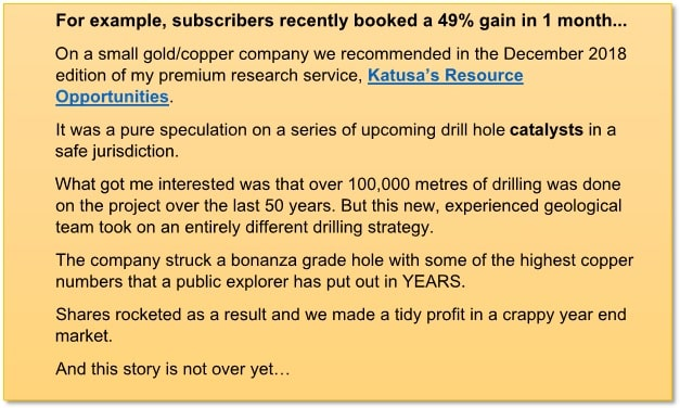 Katusa Research Subscribers Gains